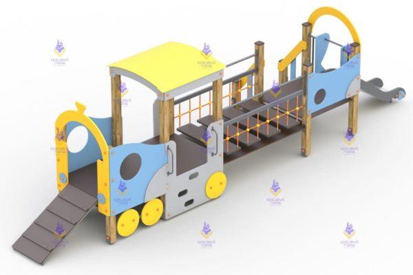 3275 Игровой комплекс «Паровозик с вагончиком и горкой» Размер 7000х1700х2500